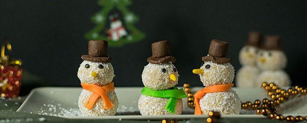 Xmas white chocolate truffle snowmen