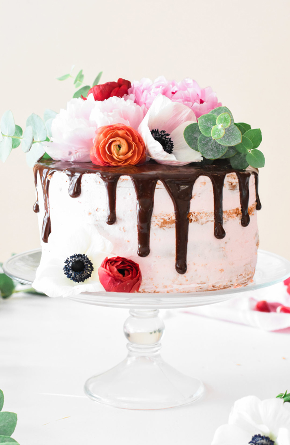 Chocolate Covered Strawberry Birthday Cake With Fresh Flowers