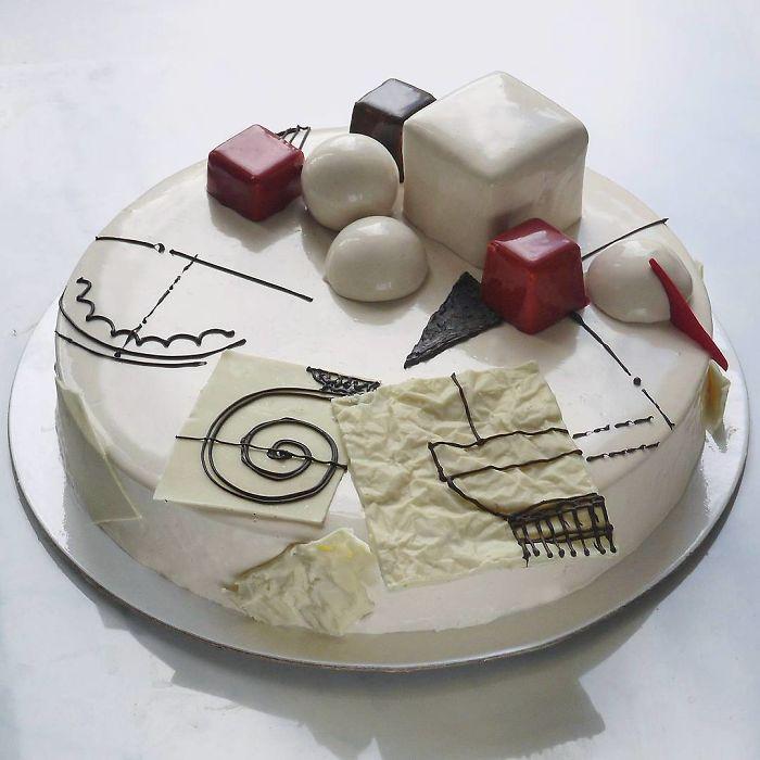 Chocolate worlds on the mirror glaze cakes by Marie Troïtskaia
