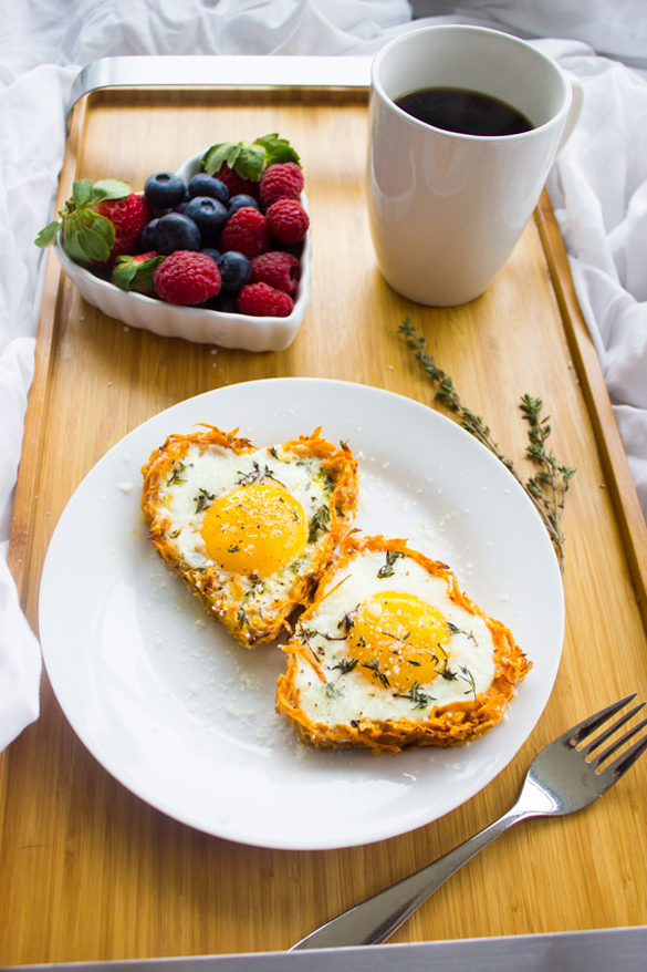 Baked Eggs in Sweet Potato Crusts
