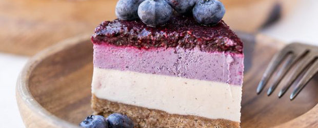 No-Bake Layered Blueberry Cheesecake (Gluten Free, Paleo + Vegan)
