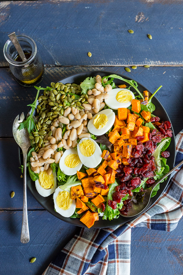 Vegetarian Cobb Salad with Roasted Sweet Potato