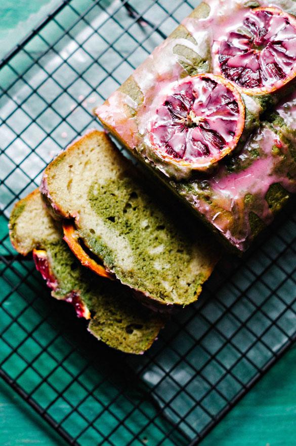 Blood orange nutmeg & matcha swirled loaf cake
