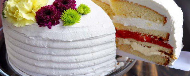 Strawberry Custard Cake with Whipped Cream