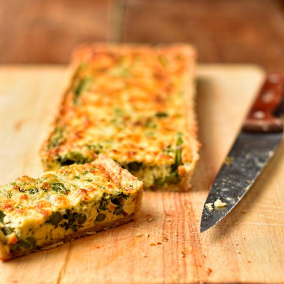 Asparagus, broad bean and Spring herb tart