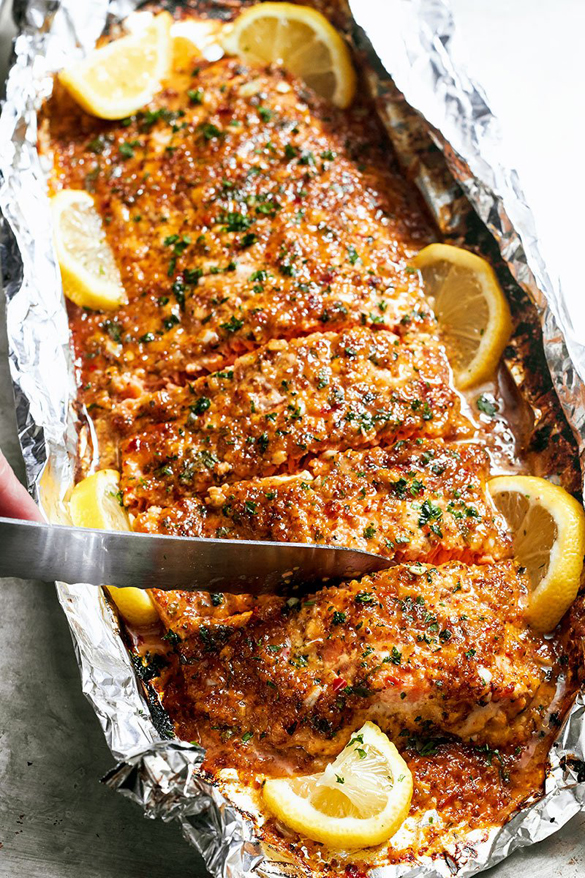 Baked Honey Garlic Salmon in Foil