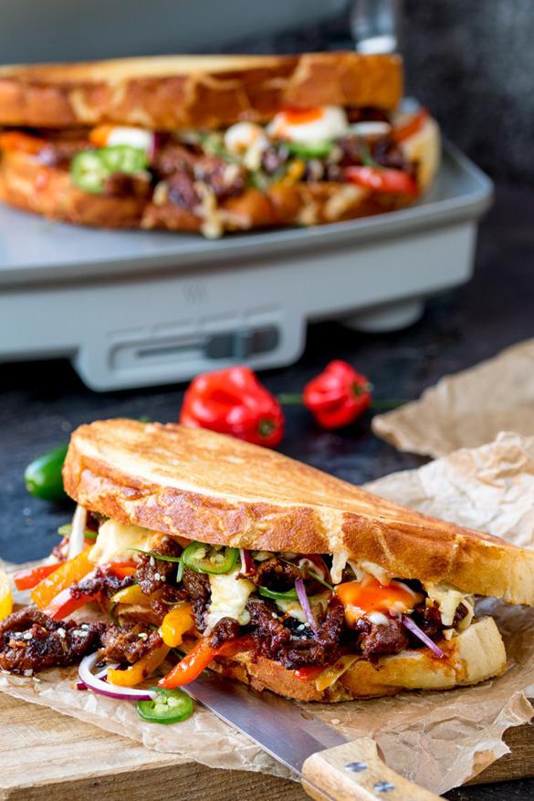 Korean Steak Sandwich with Jalapenos and Garlic Mayo