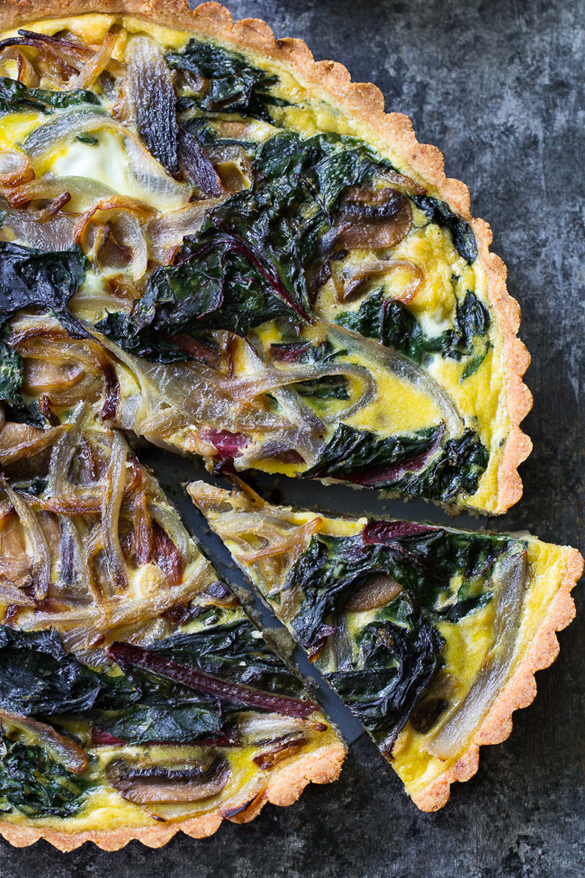 Savory Tart with Caramelized Onions, Mushrooms & Chard {Paleo}