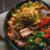 Sesame tofu noodle bowl