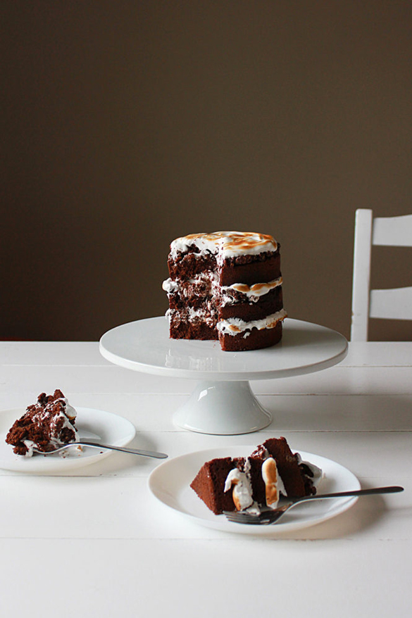 Chocolate S'mores Rice Krispies Cake