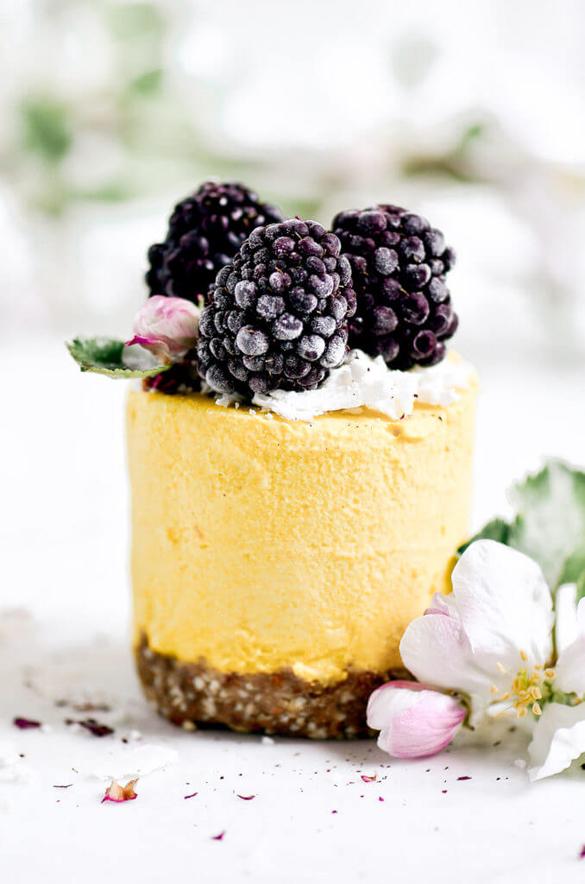 Raw Lemon Peach Vegan Cheesecakes