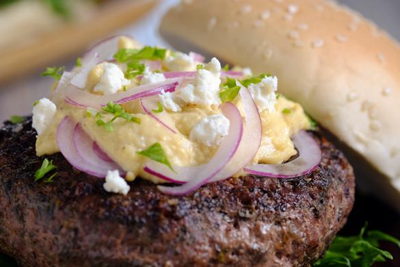 Sous Vide Greek Burger with Feta Cream