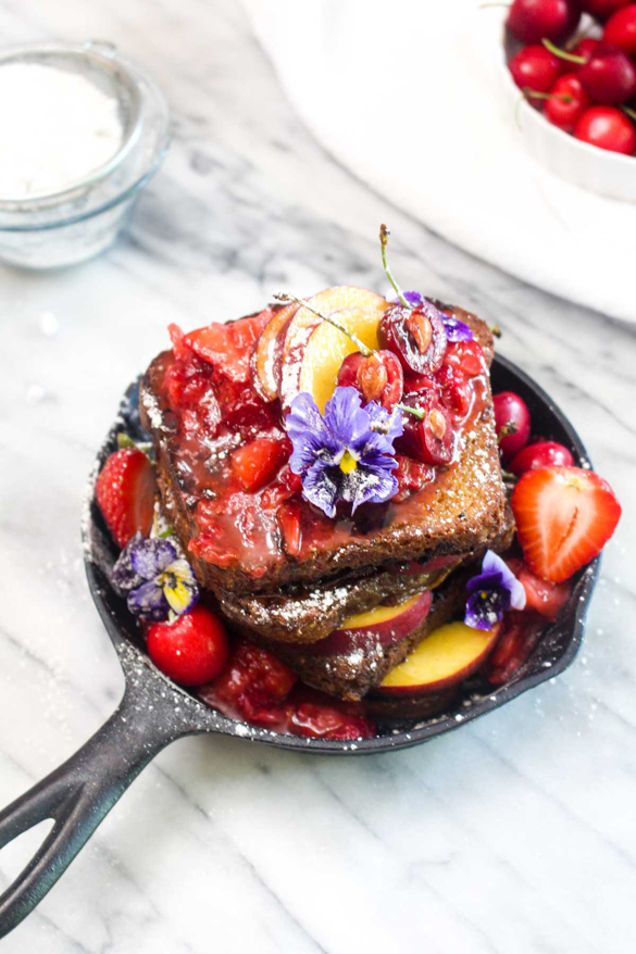 Vegan French Toast with Fresh Strawberry Sauce