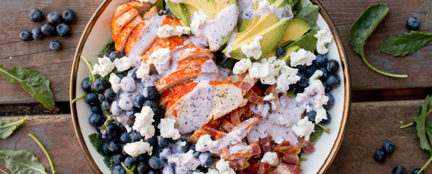 Blueberry, Bacon, Avocado and Roast Chicken Salad