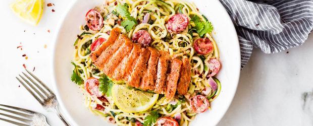 Cajun Smoked Salmon Zucchini Noodles Salad (Paleo)