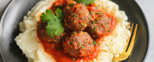 Low-Carb Turkey Meatballs with Mashed Cauliflower