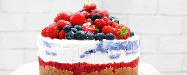 No bake summer berry '4th of July' cheesecake
