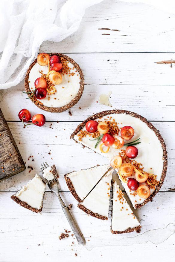 Raw Vanilla Bean Cherry Cheesecake