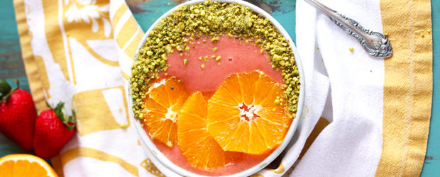 Strawberry Orange Sunrise Smoothie Bowl