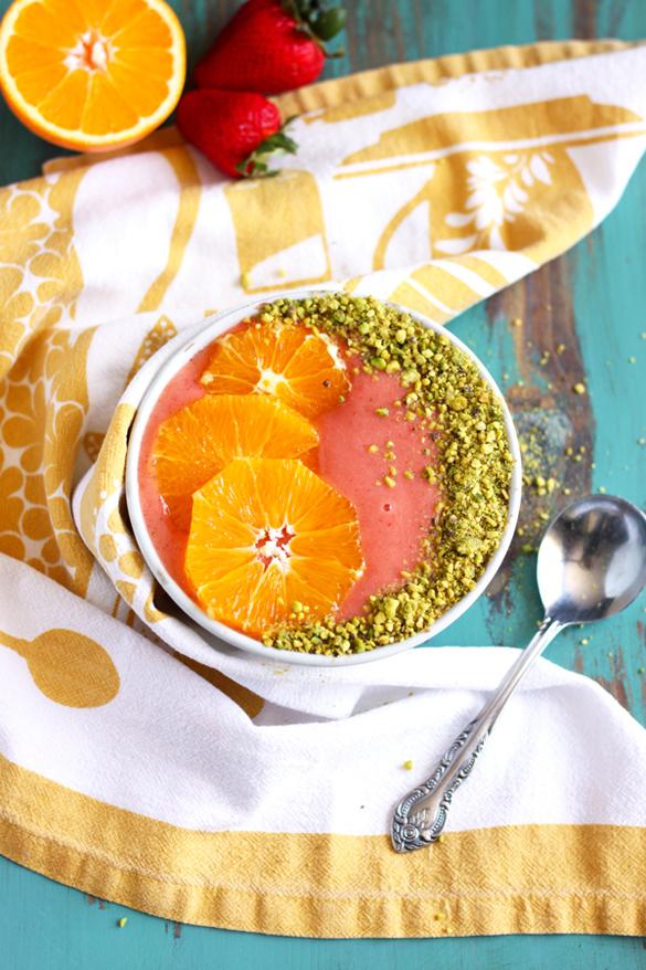 Strawberry Orange Sunrise Smoothie Bowl
