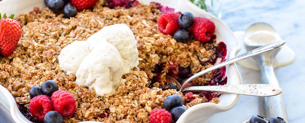 Healthy Berry Crisp with a Coconut Oat Crumb Topping