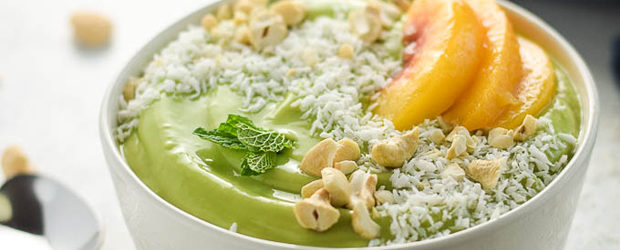 Peach Green Smoothie Bowl with Cauliflower