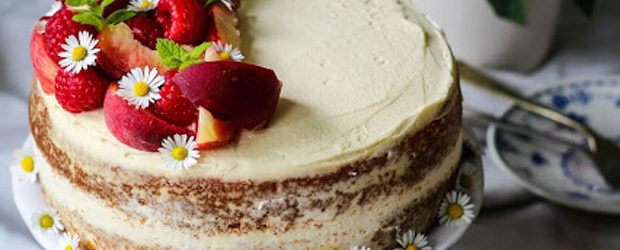 Raspberry, Peaches and Mascarpone Cream Cake