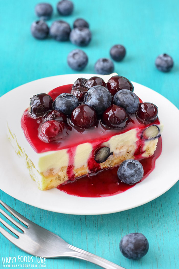 White Chocolate Waffle Cake with Blueberries