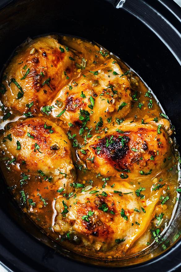 Crockpot Salsa Verde Honey Lime Chicken