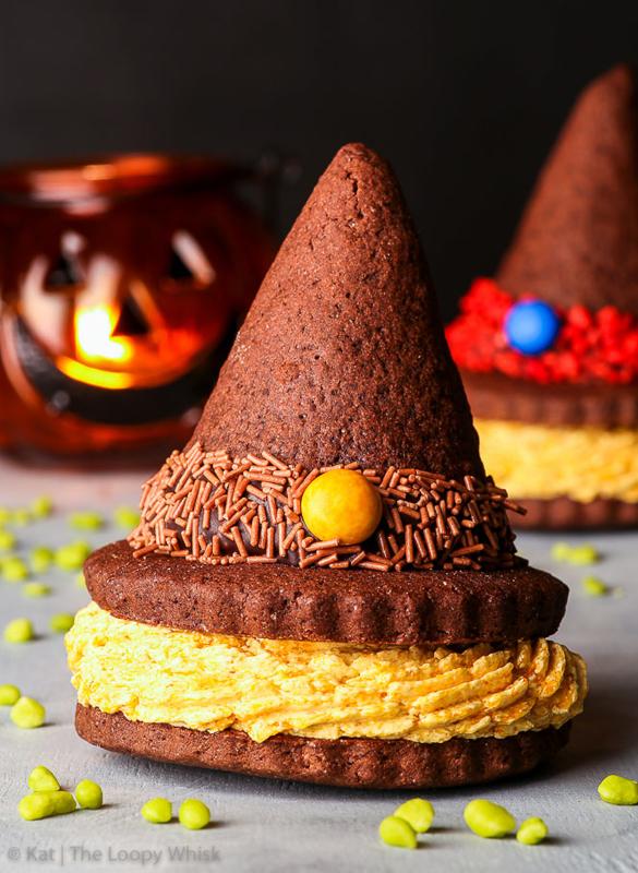 Gluten free witch hat cookie sandwiches (gluten, nut & soy free)