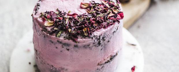 Mini Vegan Chocolate Hibiscus Cake