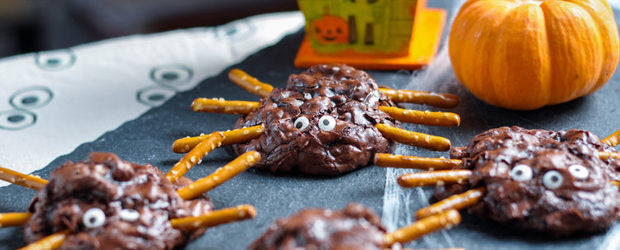 Chunky Chocolate Pecan Brownie Spiders
