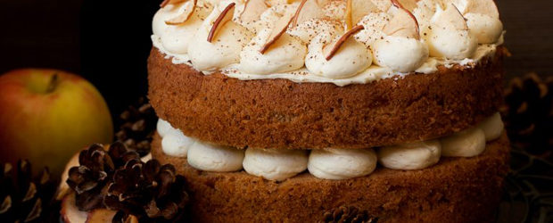 Cinnamon Apple Cake with Salted Maple Buttercream