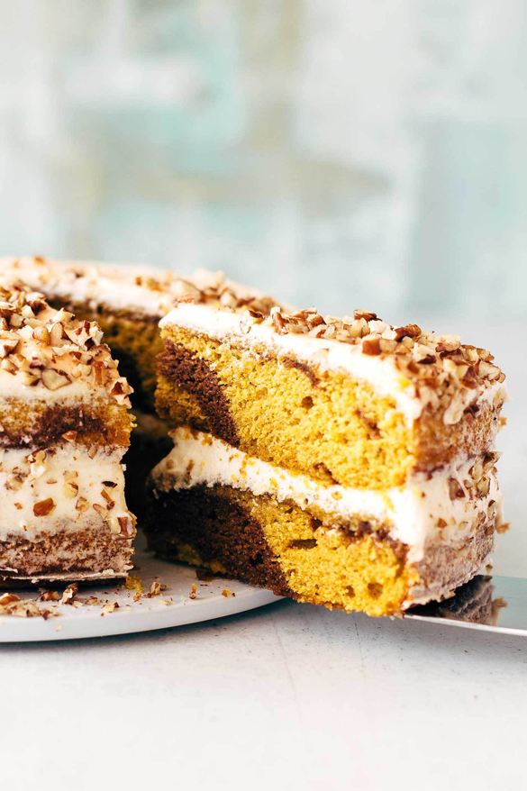 Marbled Pumpkin Cake with Maple Frosting
