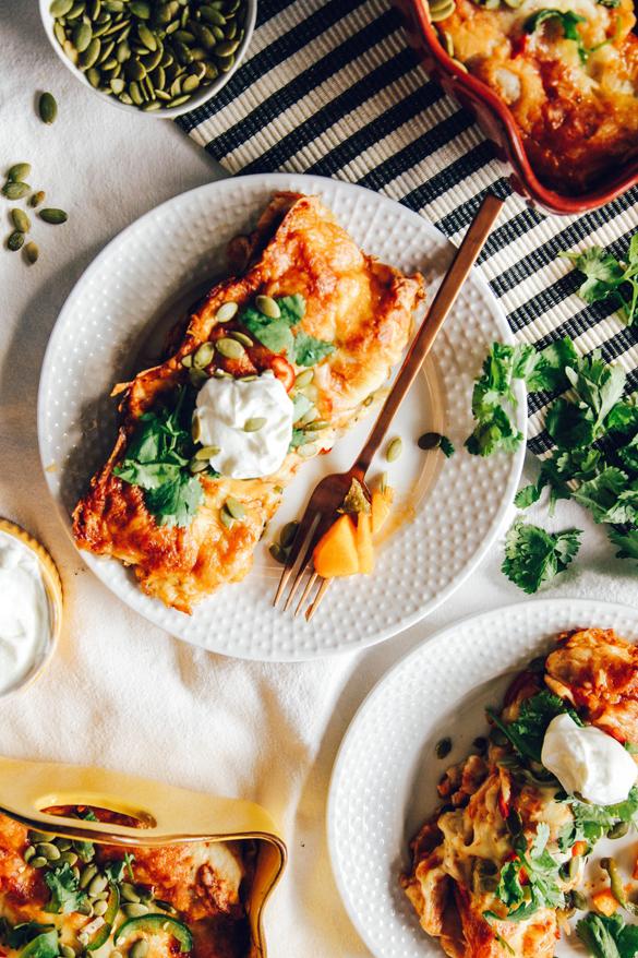 Roasted Butternut Squash & Poblano Enchiladas