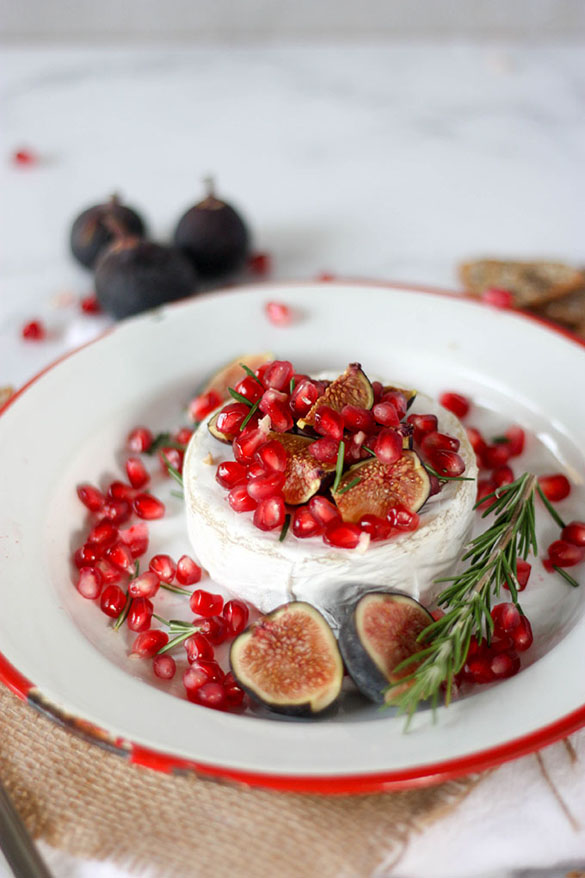 Oven Baked Brie with Fig & Pomegranate