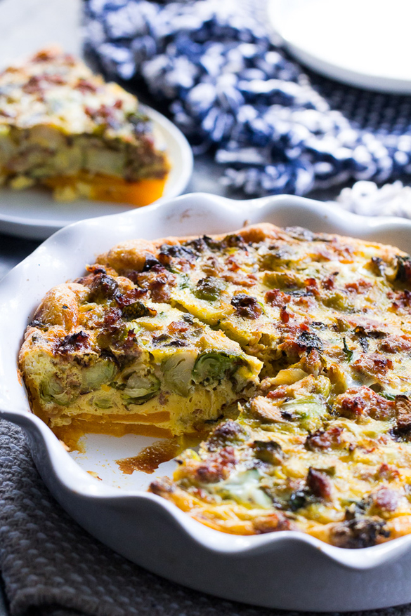 Paleo Quiche with Butternut Crust, Veggies, and Sausage