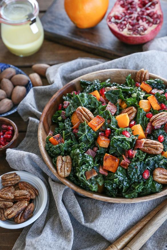 Roasted Butternut Squash Kale Salad with Pecans and Orange Vinaigrette