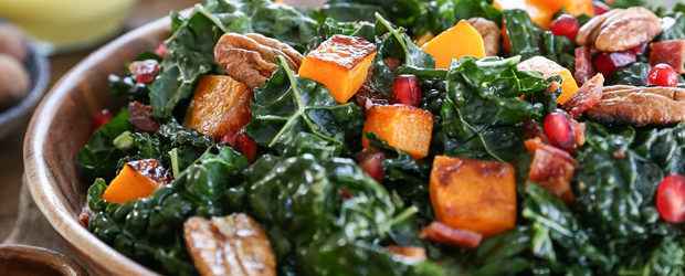 Roasted Butternut Squash Kale Salad with Pecans and Orange Vinaigrette