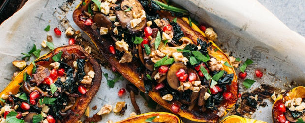 Roasted Delicata Squash Stuffed with Kale and Maple Cinnamon Roasted Mushrooms
