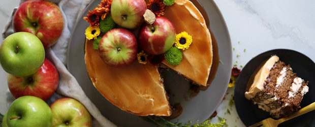 Spiced Apple Cake with Brown Sugar Buttercream and Apple Cider Bourbon Caramel1