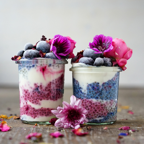 Layered Chia Pudding with Beet & Coyo