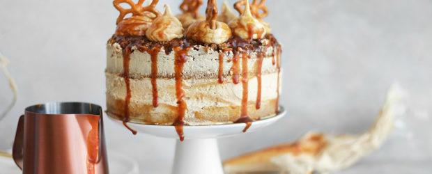 Salted caramel pretzel cake