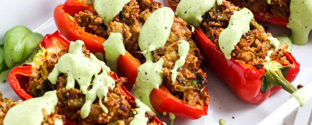 Nutty Stuffed Peppers with Basil Creme