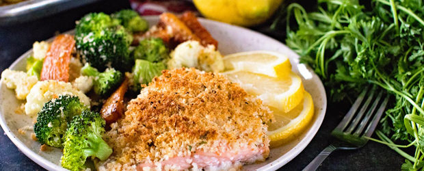 Sheet Pan Lemon Parmesan Crusted Salmon and Vegetables