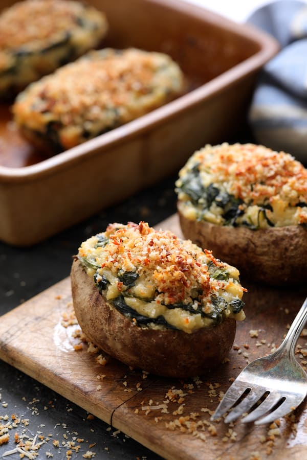 Spinach Parmesan Ranch Twice Baked Potatoes