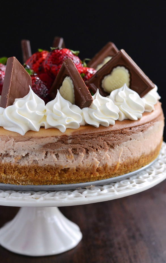 Chocolate Strawberry Marbled Cheesecake