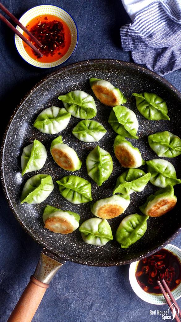 Pan-fried vegetarian dumplings