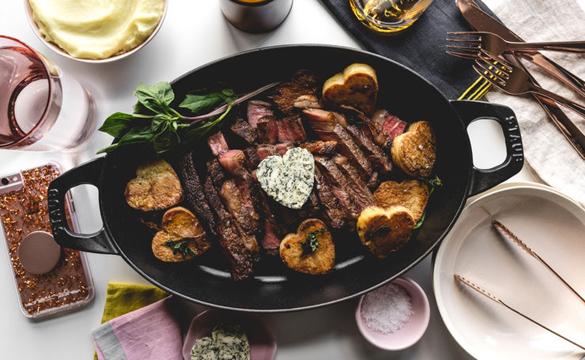 Simple Sous Vide Rib Eye Steak Recipe with Basil Garlic Compound Butter