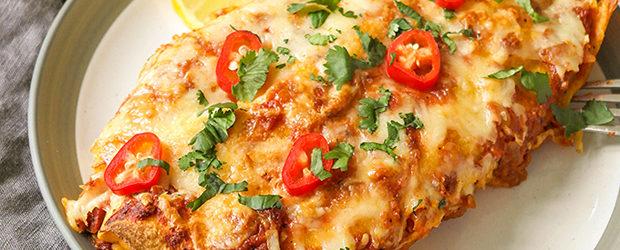 30-minute veggie enchiladas with rice & pinto beans